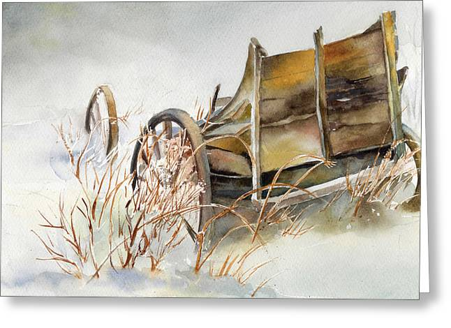 New England Snow Scene Greeting Cards - Old Wagon Abandoned in the Snow Greeting Card by Maureen Moore