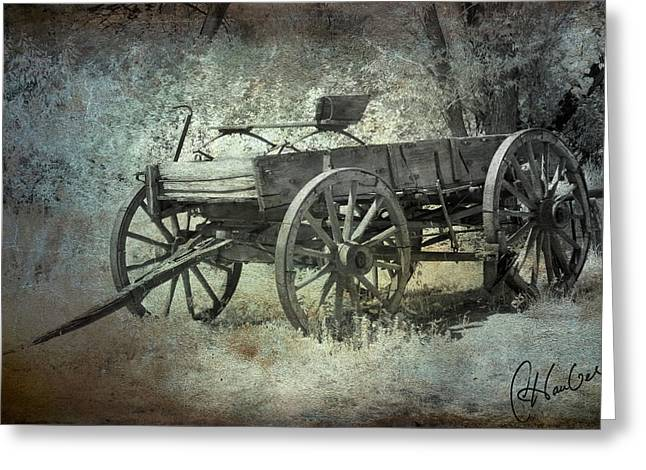 Old Wagon Greeting Card by Christine Hauber