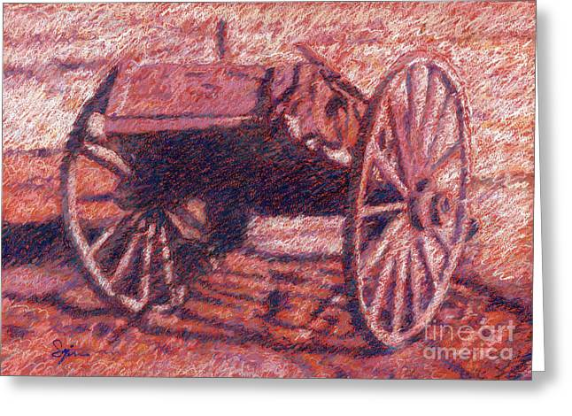 Wagon Pastels Greeting Cards - Old Wagon Greeting Card by Suzie Majikol-Maier