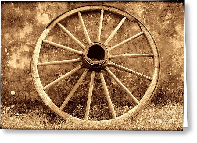 Conestoga Greeting Cards - Old Wagon Wheel Greeting Card by American West Legend By Olivier Le Queinec