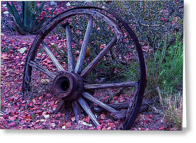 Old Wagon Wheel With Lizard Greeting Card by Garry Gay