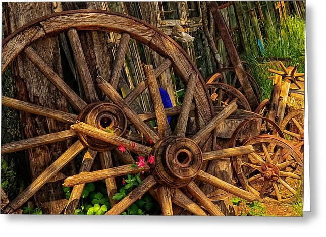 Old Wagons Greeting Cards - Old Wagon Wheels Greeting Card by Timbo84