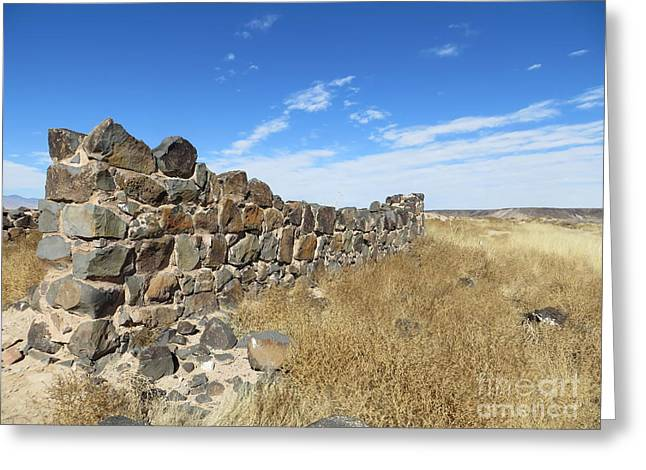 Civil Greeting Cards - Old Walls and Distant Mesa Greeting Card by Lorita Montgomery