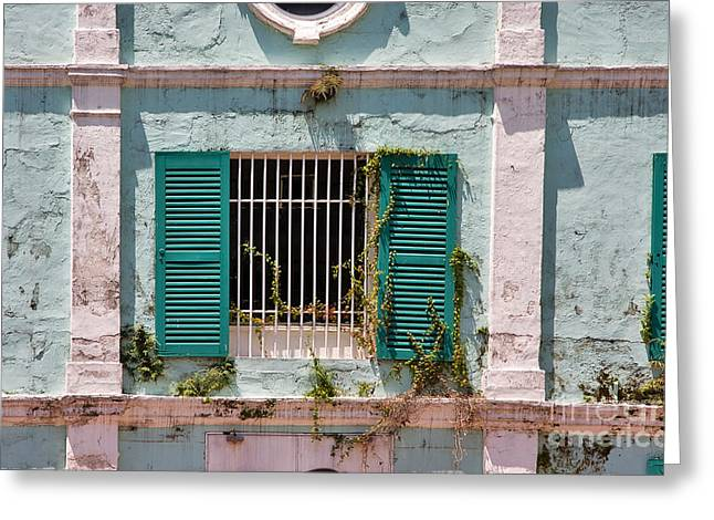 Barred Window Greeting Cards - Old Warehouse Greeting Card by Louise Heusinkveld