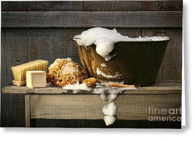 Antique Digital Greeting Cards - Old wash tub with soap on bench Greeting Card by Sandra Cunningham
