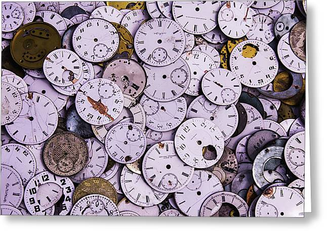 Mechanism Photographs Greeting Cards - Old Watch Faces Greeting Card by Garry Gay