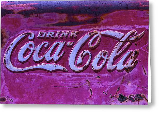 Vintage Coca Cola Sign Greeting Cards - Old Weathered Coke Sign Greeting Card by Garry Gay