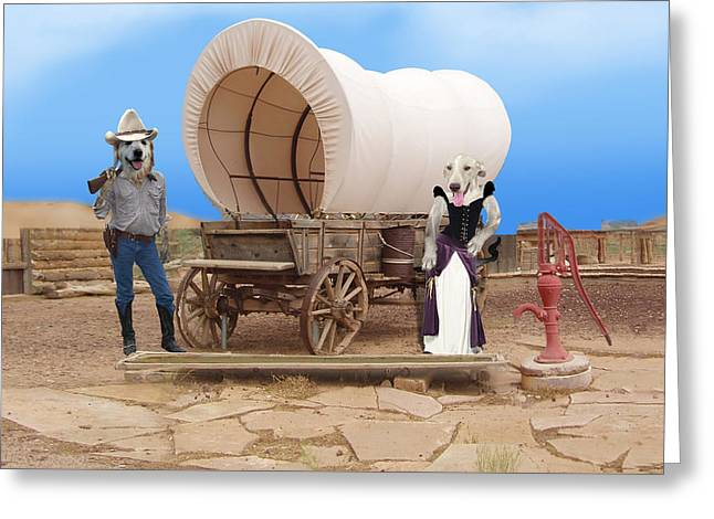 Old West Dogs Greeting Card by Gravityx9  Designs