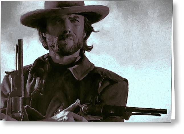 Shootist Greeting Cards - Old West Eastwood Painterly Greeting Card by Daniel Hagerman