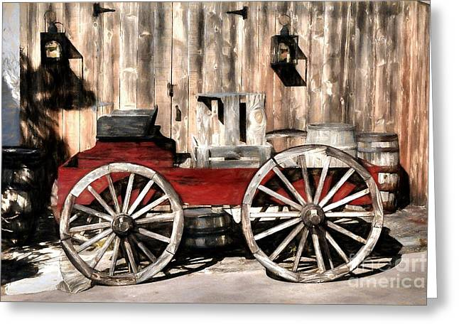 Old Western Wagon Greeting Card by Mel Steinhauer
