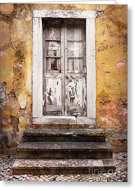 Residential Structure Greeting Cards - Old White Door Greeting Card by Carlos Caetano