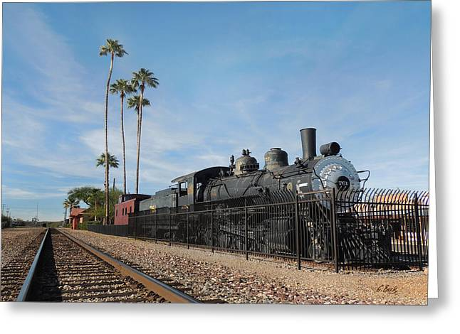 Carefree Cowboy Greeting Cards - Old Wickenburg Locomotive Greeting Card by Gordon Beck