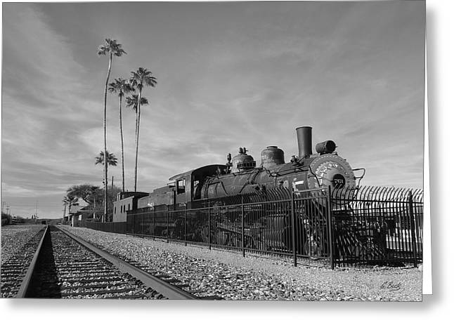 Carefree Cowboy Greeting Cards - Old Wickenburg Locomotive Monochrome Greeting Card by Gordon Beck