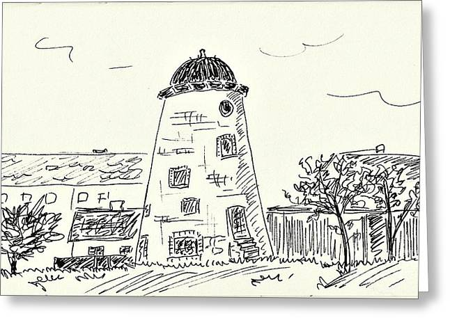 Old Wind Mill In Coswig Greeting Card by Chani Demuijlder