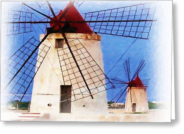 Old Mill Scenes Paintings Greeting Cards - Old windmill in sicily Greeting Card by Lanjee Chee