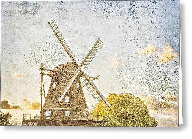 Old Mill Scenes Digital Greeting Cards - Old windmill vintage styled Greeting Card by Sophie McAulay