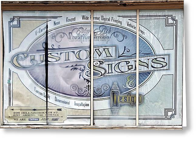 Installation Art Greeting Cards - Old Window New Sign Greeting Card by Nadine Lewis