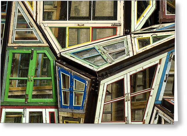 Urban Images Greeting Cards - Old windows Greeting Card by TouTouke A Y