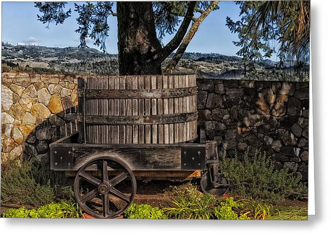 Old Barrels Greeting Cards - Old Wine Barrel And Wagon - Napa Valley Greeting Card by Mountain Dreams