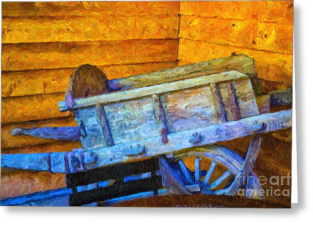 Wine Cart Greeting Cards - Old Wine Cart Oil Painting Greeting Card by Rick Bragan