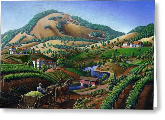 Delivering Paintings Greeting Cards - Old Wine Country Landscape Painting - Worker Delivering Grape To The Winery -Square Format Image Greeting Card by Walt Curlee
