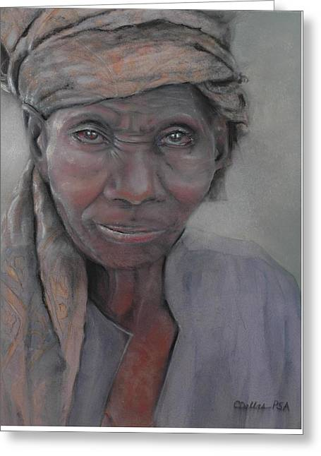 African-american Greeting Cards - Old Woman in a Scarf Greeting Card by Carol Dallas