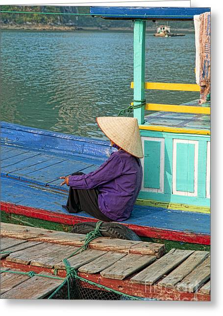 Elderly Female Greeting Cards - Old Woman on a Colorful River Boat Greeting Card by Bill Bachmann - Printscapes