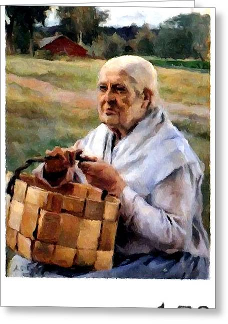 1987 Paintings Greeting Cards - Old woman with basket Greeting Card by Lanjee Chee