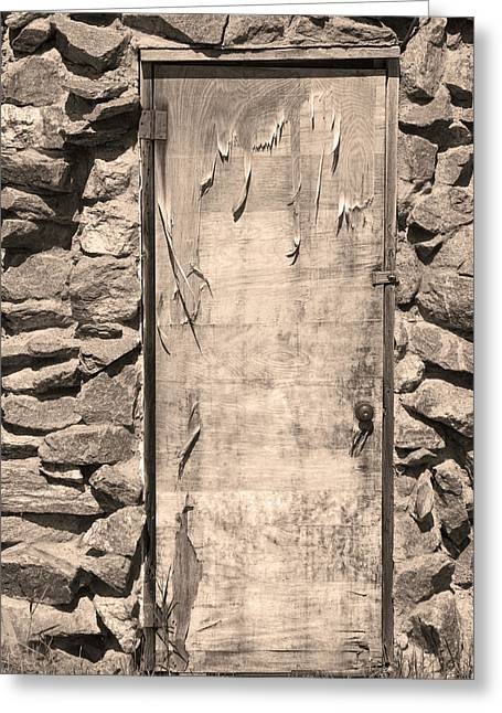 Photography Galleries On Line Greeting Cards - Old Wood Door  and Stone - Vertical Sepia BW Greeting Card by James BO  Insogna