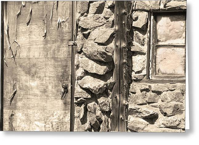 Greeting Cards For Sale Greeting Cards - Old Wood Door Window and Stone in Sepia Black and White Greeting Card by James BO  Insogna