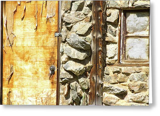 Photography Galleries On Line Greeting Cards - Old Wood Door Window and Stone Greeting Card by James BO  Insogna