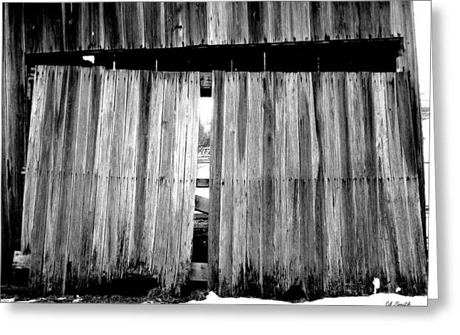 Barn Door Digital Greeting Cards - Old Wood Greeting Card by Ed Smith