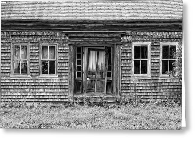 Wooden Building Greeting Cards - Old Wood Shingle House Black and White Photograph Greeting Card by Keith Webber Jr