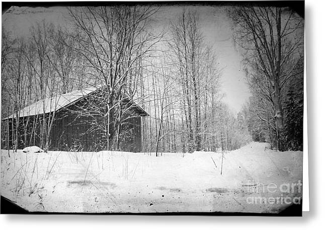 Ghostly Barn Greeting Cards - Old Wooden Barn in Snowed Woodland Greeting Card by A Cappellari