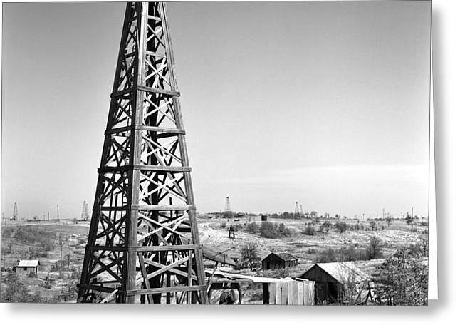 Nostalgic Greeting Cards - Old Wooden Derrick Greeting Card by Larry Keahey