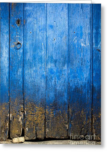 Painted Wood Greeting Cards - Old Wooden door Greeting Card by Carlos Caetano