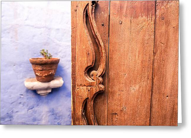 Catherine White Greeting Cards - Old Wooden Door in Arequipa Greeting Card by Jess Kraft