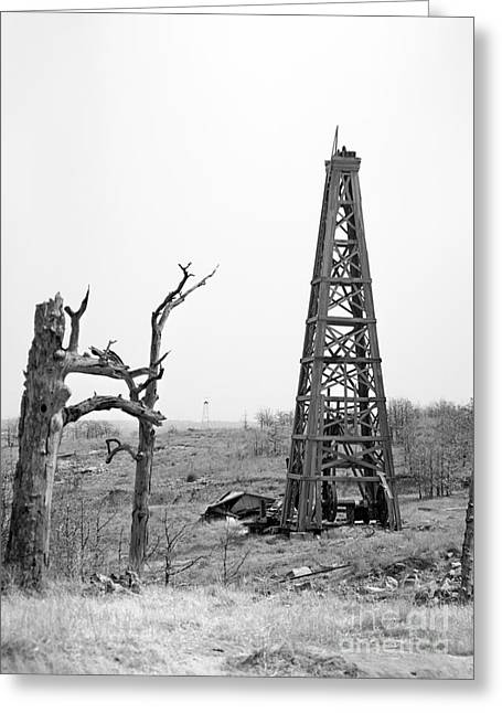 Oil Field Greeting Cards - Old Wooden Oil Derrick Greeting Card by Larry Keahey