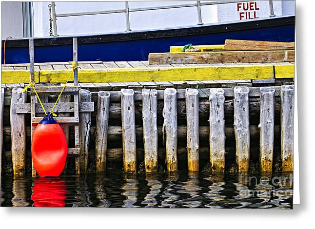 Rope Greeting Cards - Old wooden pier in Newfoundland Greeting Card by Elena Elisseeva