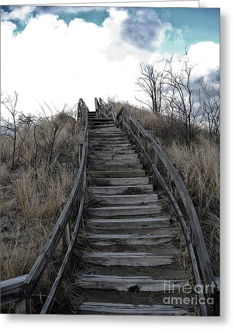 Recently Sold -  - Wooden Stairs Greeting Cards - Old Wooden Stairs Leading up to Top of a Sand Dune Greeting Card by Christopher Purcell