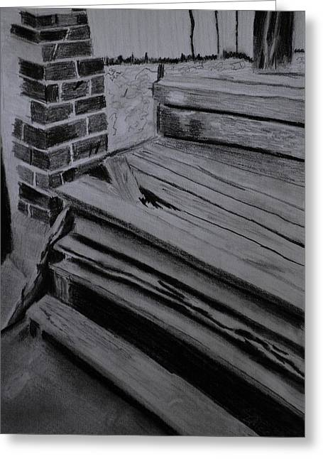 Iron Greeting Cards - Old Wooden Steps In Milang Greeting Card by Zilpa Van der Gragt
