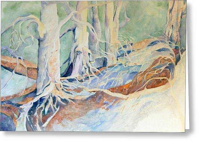 Impressionist Greeting Cards - Old Woods Greeting Card by Sharon Nelson-Bianco