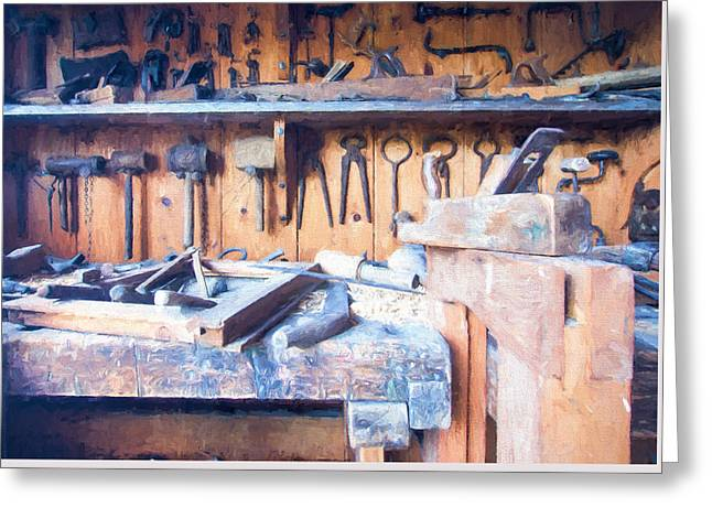 Saw Greeting Cards - Old Woodwork Tools 2 Greeting Card by Roy Pedersen