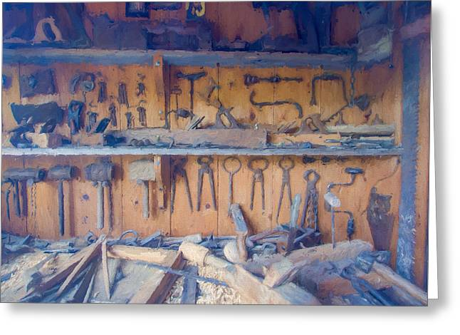 Saw Greeting Cards - Old Woodwork Tools Greeting Card by Roy Pedersen
