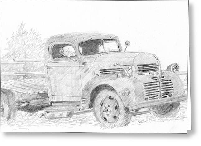 Truck Drawings Greeting Cards - Old Workhorse Greeting Card by David King