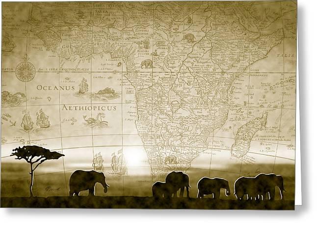 Old World Africa Antique Sunset Greeting Card by Dana Bennett