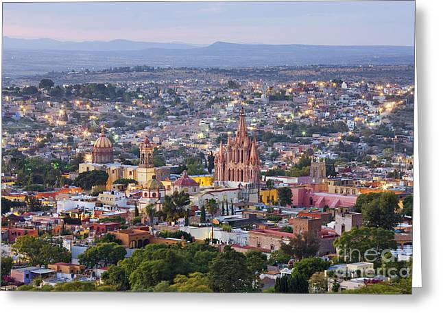 San Miguel De Allende Greeting Cards - Old World City Skyline Greeting Card by Jeremy Woodhouse