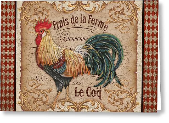 Le Coq Greeting Cards - Old World Le Coq-JP3090 Greeting Card by Jean Plout
