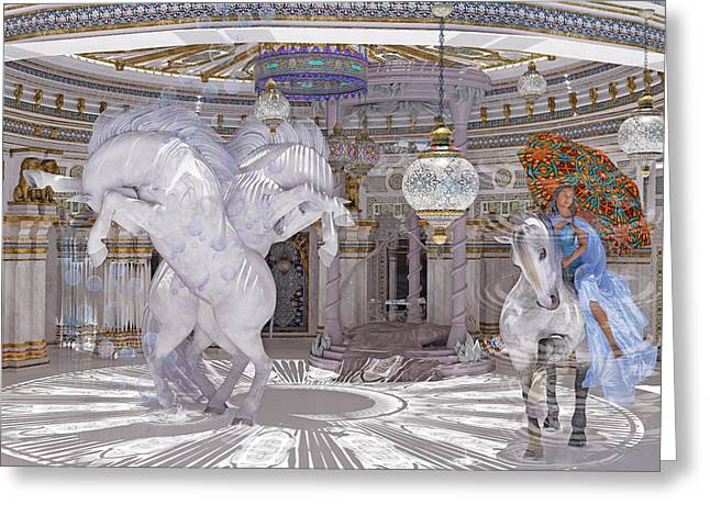 Old World Lipizzaners  Greeting Card by Betsy Knapp