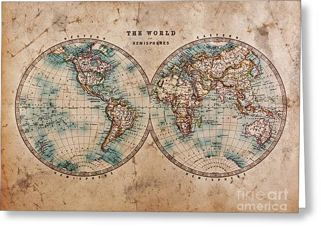 Hand Drawn Greeting Cards - Old World Map in Hemispheres Greeting Card by Richard Thomas